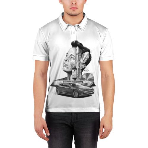 Мужская рубашка поло 3D  Фото 03, Илон Маск