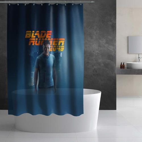 Штора 3D для ванной  Фото 03, Бегущий по лезвию