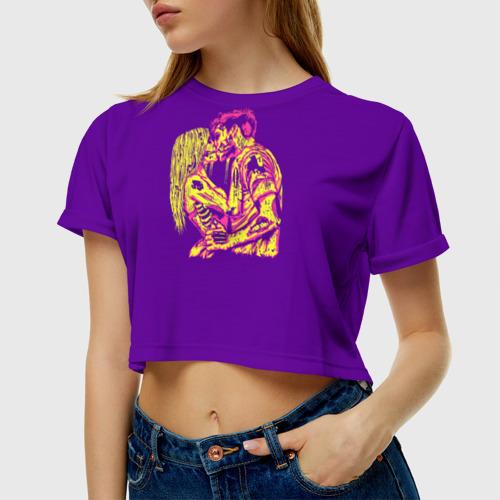 Женская футболка 3D укороченная  Фото 01, Поцелуй