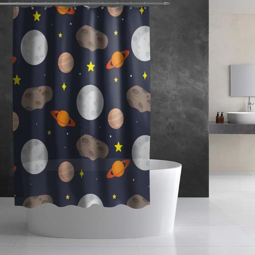Штора 3D для ванной  Фото 02, Луна