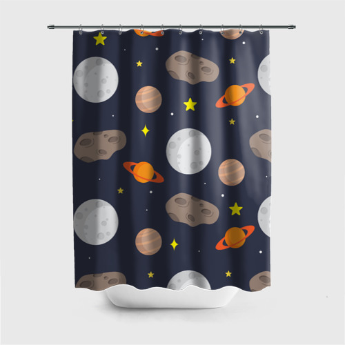 Штора 3D для ванной  Фото 01, Луна