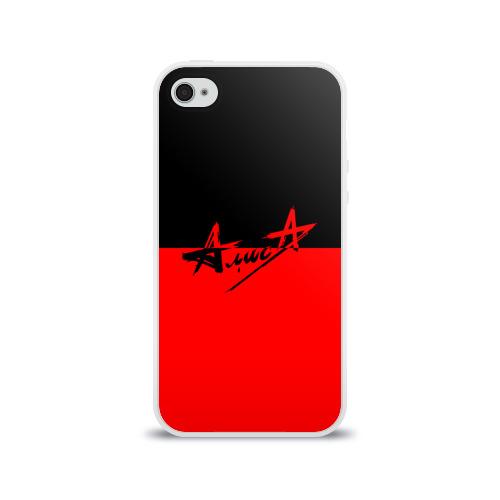 Чехол для Apple iPhone 4/4S силиконовый глянцевый Флаг группа Алиса Фото 01