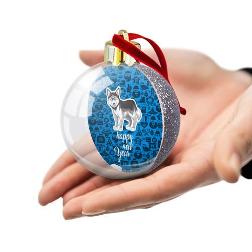 Ёлочный шар с блестками  Фото 03, Хаски(новый год)