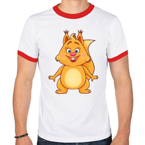 Мужская футболка рингер  Фото 01, Веселая белка
