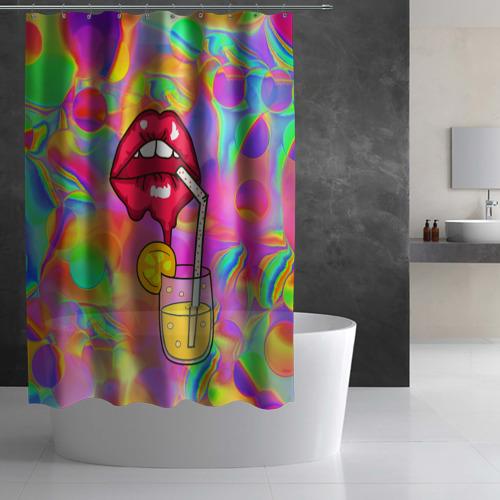 Штора 3D для ванной  Фото 02, Cocktail lips