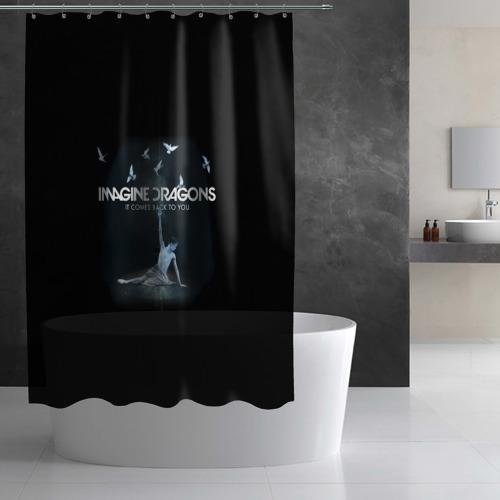 Штора 3D для ванной  Фото 02, Imagine, Dragons, девушка