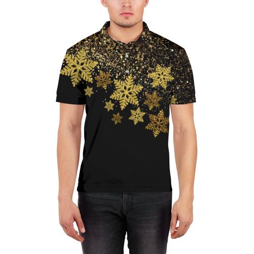 Мужская рубашка поло 3D Новогодние снежинки
