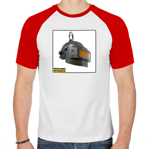 Мужская футболка реглан  Фото 01, Шлем PUBG