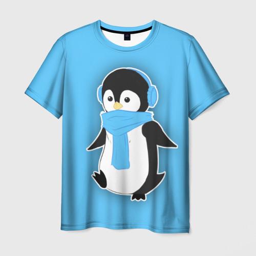 Мужская футболка 3D Penguin blue