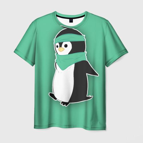 Мужская футболка 3D Penguin green