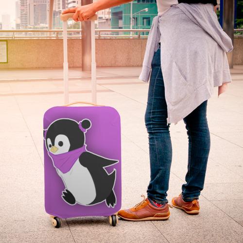 Чехол для чемодана 3D Penguin purple Фото 01