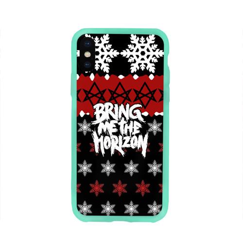 Чехол для Apple iPhone X силиконовый глянцевый Праздничный Bring Me the Horizon Фото 01