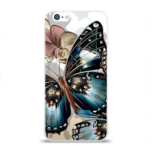 Чехол для Apple iPhone 6 силиконовый глянцевый Бабочки Фото 01