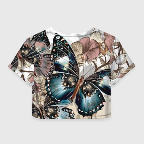 Женская футболка Crop-top 3D Бабочки Фото 01