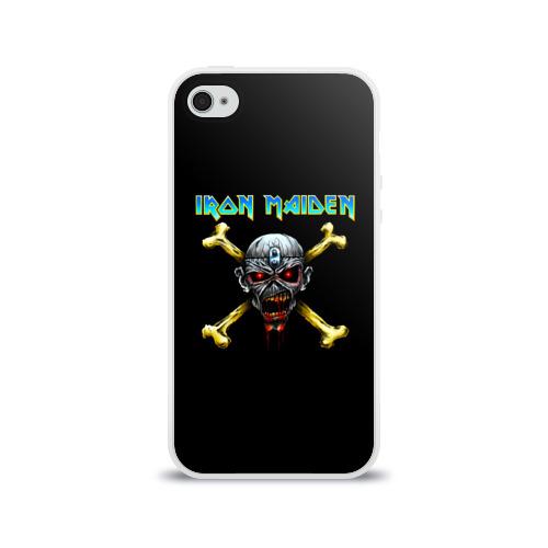 Чехол для Apple iPhone 4/4S силиконовый глянцевый  Фото 01, Iron Maiden череп и кости