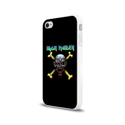 Чехол для Apple iPhone 4/4S силиконовый глянцевый  Фото 03, Iron Maiden череп и кости
