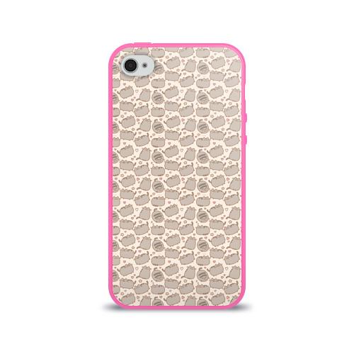 Чехол для Apple iPhone 4/4S силиконовый глянцевый Pusheen Pattern Фото 01