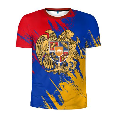 Мужская футболка 3D спортивная Герб и флаг Армении Фото 01