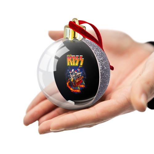 Ёлочный шар с блестками  Фото 03, Merry KISSmas!