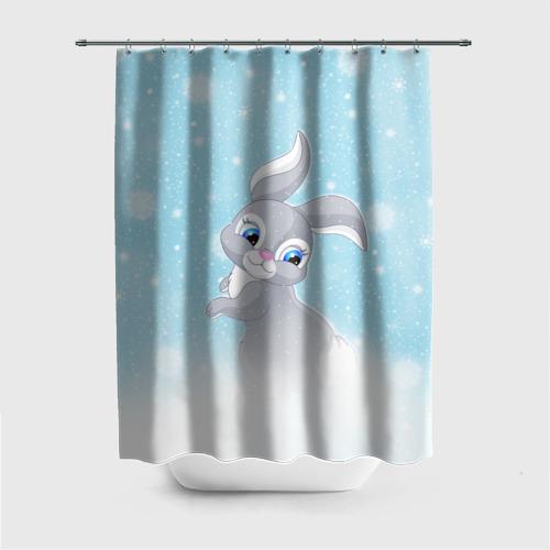 Штора 3D для ванной  Фото 01, Зайка