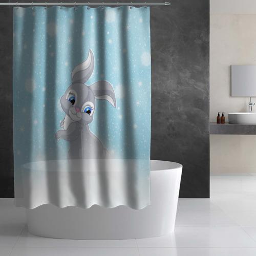 Штора 3D для ванной  Фото 03, Зайка