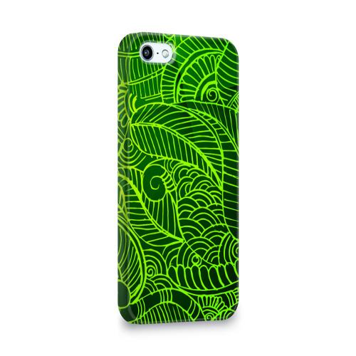 Чехол для Apple iPhone 5/5S 3D  Фото 02, зеленые узоры
