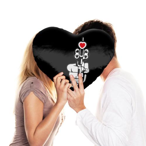 Подушка 3D сердце  Фото 03, Любовь с первого выстрела
