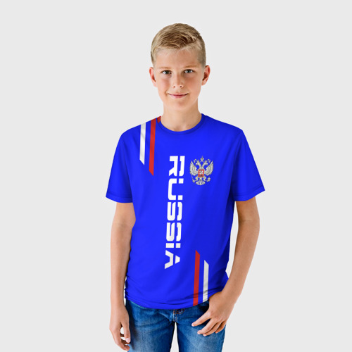 Детская футболка 3D Russia надпись и герб