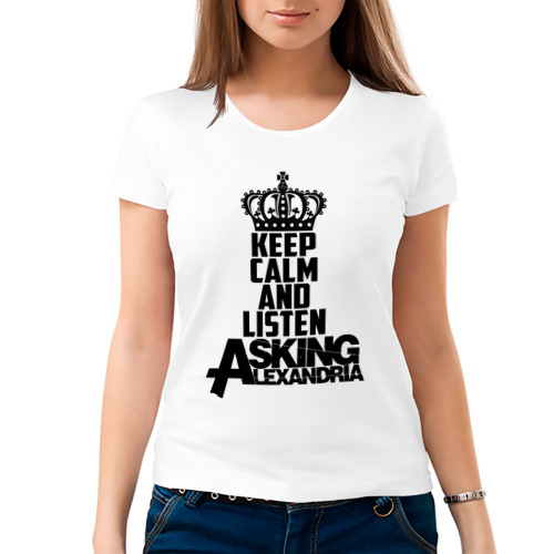 Женская футболка хлопок  Фото 03, Keep calm and listen AA
