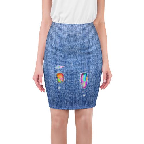 Юбка 3D Рваные джинсы