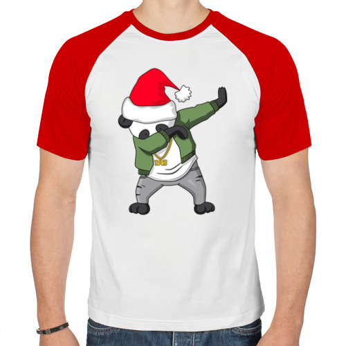 Мужская футболка реглан  Фото 01, Панда DAB дед Мороз