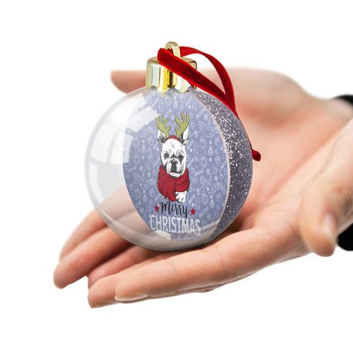 Ёлочный шар с блестками  Фото 03, Merry christmas