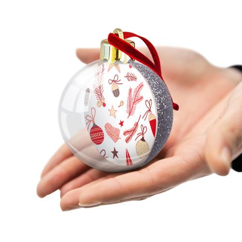 Ёлочный шар с блестками  Фото 03, Новогодняя текстура