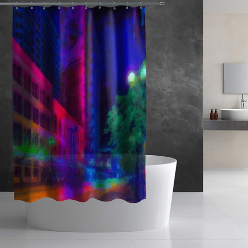 Штора 3D для ванной Neon city Фото 01