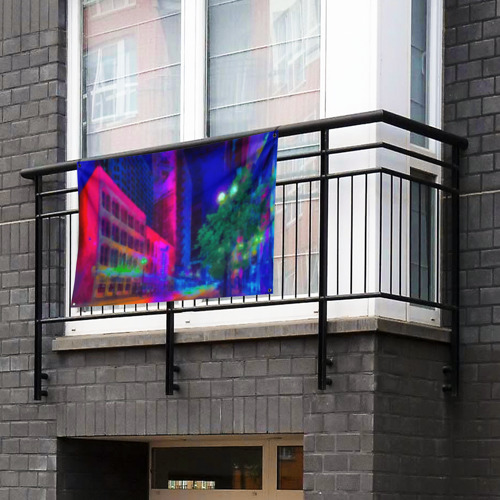 Флаг-баннер Neon city Фото 01