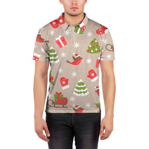 Мужская рубашка поло 3D К нам стучится Новый год!  Фото 01