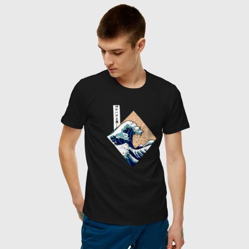Мужская футболка хлопок Большая волна в Канагаве Фото 01