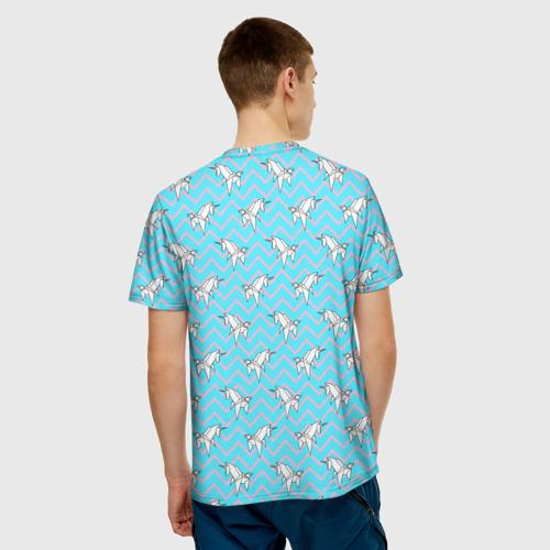 Мужская футболка 3D  Фото 02, Бумажный единорог - зигзаг