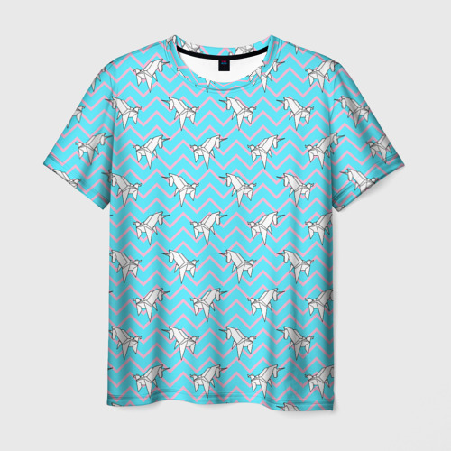 Мужская футболка 3D  Фото 03, Бумажный единорог - зигзаг