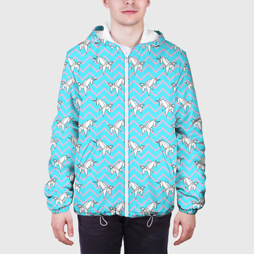 Мужская куртка 3D  Фото 04, Бумажный единорог - зигзаг