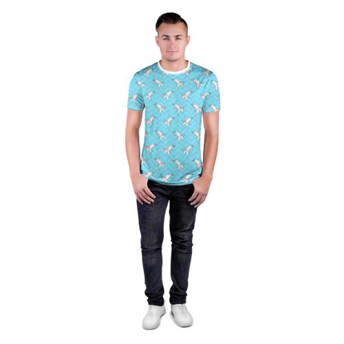 Мужская футболка 3D спортивная  Фото 04, Бумажный единорог - зигзаг