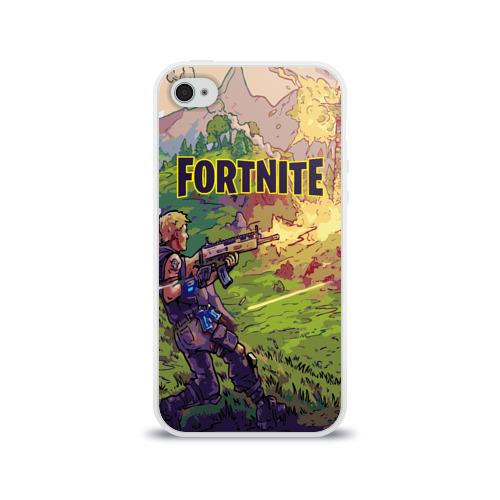 Чехол для Apple iPhone 4/4S силиконовый глянцевый  Фото 01, Fortnite Королевская битва