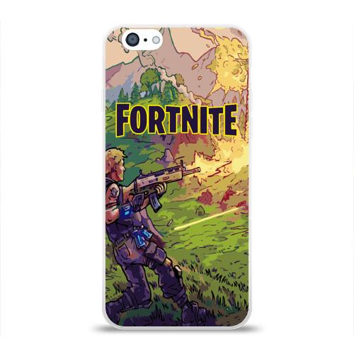 Чехол для Apple iPhone 6 силиконовый глянцевый Fortnite Королевская битва Фото 01