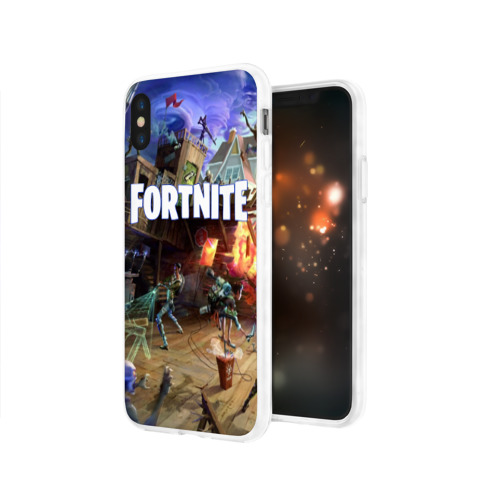 Чехол для Apple iPhone X силиконовый глянцевый  Фото 03, Fortnite massacre