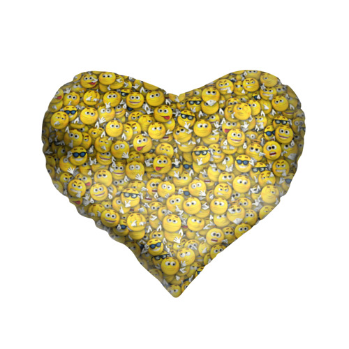 Подушка 3D сердце  Фото 01, Веселые смайлики