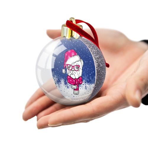 Ёлочный шар с блестками  Фото 03, Бульдог Санта