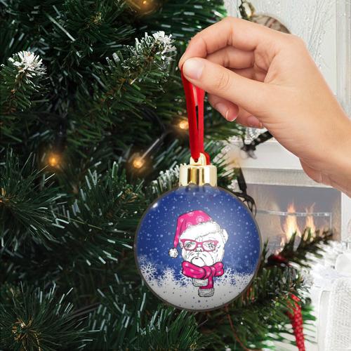 Ёлочный шар с блестками  Фото 04, Бульдог Санта