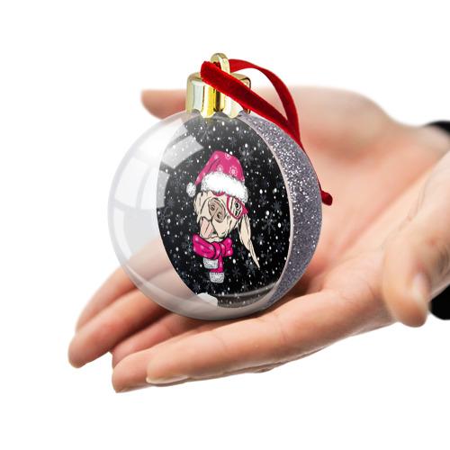 Ёлочный шар с блестками  Фото 03, Собака Санта