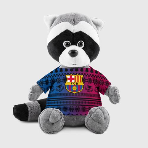 Енотик в футболке 3D FC Barca Новогодний