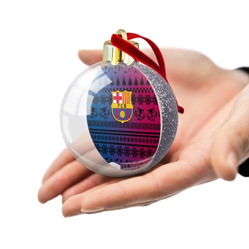 Ёлочный шар с блестками  Фото 03, FC Barca Новогодний